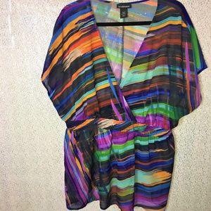 Lane Bryant Sheer Multicolored Blouse